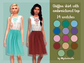 Sims 4 — Chiffon skirt with embroidered top  by MysteriousOo — 14 Swatches; Base Game compatible; HQ compatible; Teen to