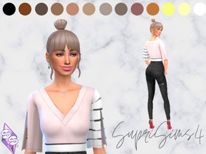Sims 4 — Recolors Recogido trendy hairstyle for your female sims by SupriSims4 — 13 naturals colors 14 unnatural colors 6