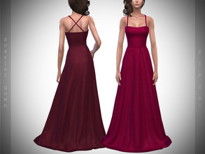 Sims 4 — Pipco - Scarlet Gown. by Pipco — 10 Swatches Base Game Compatible New Mesh All Lods Specular and Normal Maps