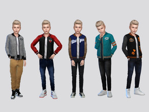 Sims 4 — Joe Varsity Jacket Boys by McLayneSims — TSR EXCLUSIVE Standalone item 10 Swatches MESH by Me NO RECOLORING