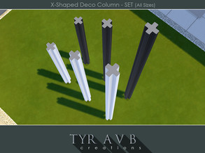 Sims 4 — X-Shaped Deco Column - SET (All Sizes) by TyrAVB — Set of all 3 sizes (short, medium, tall) of X-shaped columns