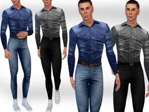 Sims 4 — Men Denim Shirts FullBody Outfit by saliwa — Men Denim Shirts FullBody Outfit