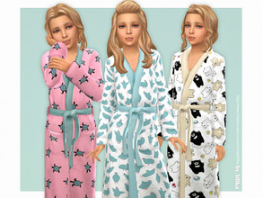 Sims 4 — Cute Bathrobe for Girls by lillka — Cute Bathrobe for Girls 3 swatches Custom thumbnail YOU NEED Spa Day Hair by