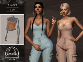 Sims 4 — Camuflaje - Aya Set (Top) by Camuflaje — ** Part of the set ** * New mesh * Compatible with the base game * HQ *