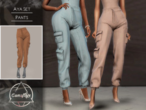 Sims 4 — Camuflaje - Aya Set (Pants) by Camuflaje — ** Part of the set ** * New mesh * Compatible with the base game * HQ