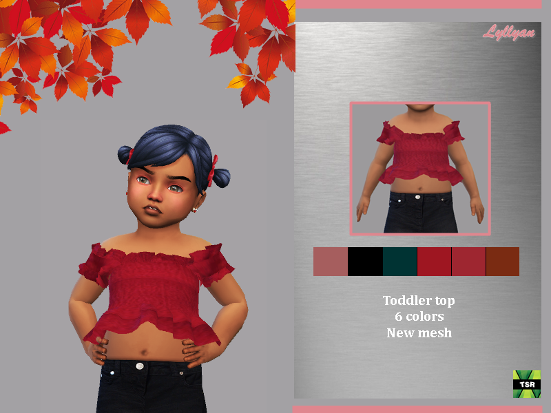Sims 4 — Toddler top Raquel by LYLLYAN — Toddler top in 6 colors. For Toddler New mesh Custom thumbnail