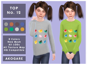 Sims 4 — Akogare Top No.12 by _Akogare_ — Akogare Top No.12 - 8 Colors - New Mesh (All LODs) - All Texture Maps - HQ