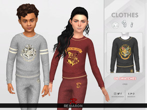 Sims 4 — ReMaron_C_HarryPotterSweater01 by remaron — -06 Swatches available -Child Category -Custom CAS thumbnail -Base
