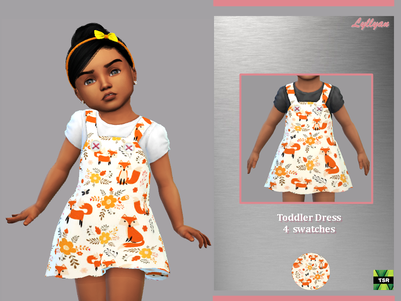 Sims 4 — Toddler dress Any by LYLLYAN — Dress in 4 swatches For Toddler You must own the latest toddler stuff pack to be