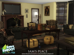 Sims 4 — Retro ReBOOT SAM'S PLACE by dasie22 — SAM'S PLACE is a living corner with a bedroom and an office. It is