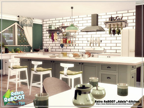 Sims 4 — Retro ReBOOT-Adela kitchen by Danuta720 — $18975 8x9 Short wall by Danuta720 CC's needed for this Room - Read in