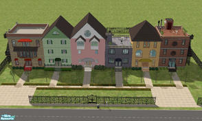 Sims 2 — Row House by RockinRobin — I've always loved the charm of row houses so I decided to build some. This lot is