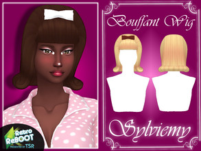 Sims 4 — Retro ReBOOT Bouffant Wig Set by Sylviemy — The Set inluded RetroReBOOT Bouffant Wig Hair and Accessory