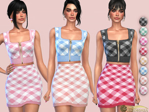 Sims 4 — Zip-Up Gingham Crop Top by Harmonia — 8 color Please do not use my textures. Please do not re-upload. Please