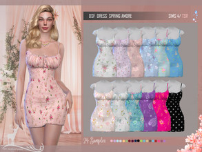 Sims 4 — DSF DRESS SPRING AMORE by DanSimsFantasy — Spring short dress It has 24 samples Cloning Item: Game Basis