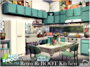 Sims 4 — Retro ReBOOT Kitchen by nobody13922 — A colorful retro kitchen with a dining area. Let's go back to the 70's!