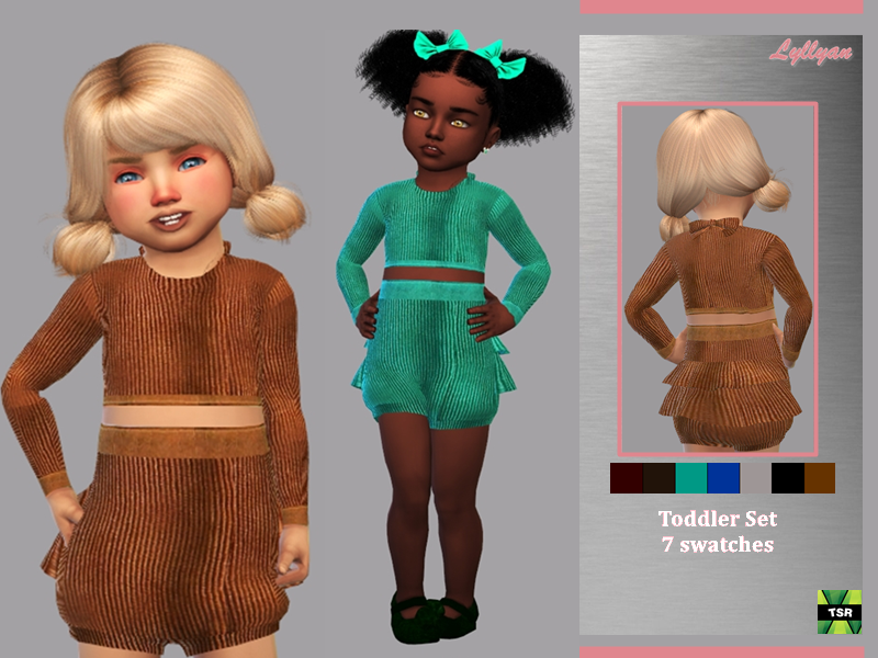 Sims 4 — Toddler set Kely by LYLLYAN — Toddler set 7 swatches You must own the latest toddler stuff pack to be able to