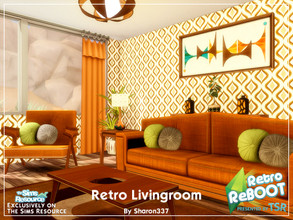 Sims 4 — RetroREBOOT - Retro Living Room by sharon337 — This is a ROOM Build and it does NOT include the Custom Content.