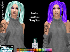 Sims 4 — Recolor of TsminhSims Lizzy hair by PinkyCustomWorld — - Recolor in 72 different colors - Custom Thumbnail -