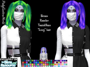 Sims 4 — Bonus recolor of TsminhSims Lizzy hair by PinkyCustomWorld — - Recolor in 96 different colors - Custom Thumbnail