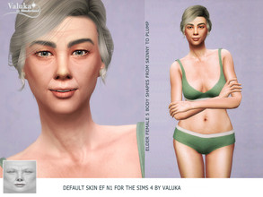 Sims 4 — Valuka DEFAULT Elder Female Skin N1 by Valuka — This is the DEFAULT skin. It replace the standard EA texture on