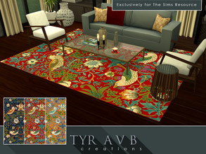 Sims 4 — The Strawberry Thief Rug by TyrAVB — This high end handmade The Strawberry Thief pattern wool carpet with a