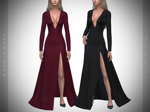 Sims 4 — Pipco - Raven Gown. by Pipco — 12 Swatches Base Game Compatible New Mesh All Lods Specular and Normal Maps