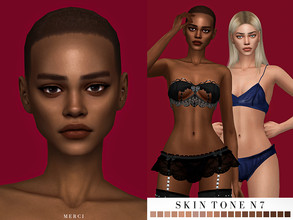 Sims 4 — -Patreon- Skintone N7 by -Merci- — Skin for female sims and it comes with 20 different skin colours. HQ mod