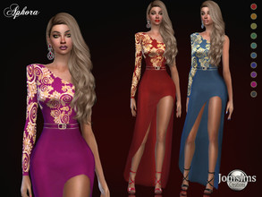 Sims 4 — Aphora dress by jomsims — Aphora dress Dress Sims 4 for her in 10 shades. long slit evening dress. 1 shoulder
