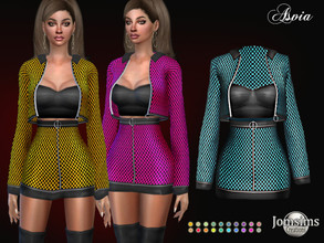 Sims 4 — Asvia dress by jomsims — Asvia dress dress outfit Sims 4 for her in 20 shades. small skirt and matching jacket.