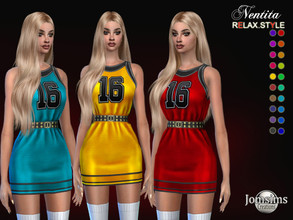 Sims 4 — Nentita dress by jomsims — Nentita dress Dress Sims 4 for her in 20 shades. Short dress sports t-shirt, number