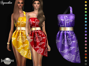 Sims 4 — Squakia dress by jomsims — Squakia dress Dress Sims 4 for her in 20 shades. pareo short dress 1 strap. With gold