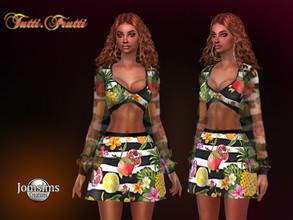 Sims 4 — Tutti frutti dress by jomsims — Tutti frutti dress small skirt and top set, with transparent sleeves. tutti