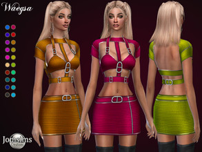 Sims 4 — Waegsa dress by jomsims — Waegsa dress Dress Sims 4 for her in 20 shades. short dress design. harness thick