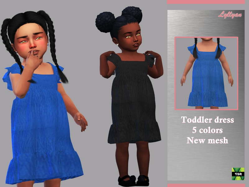 Sims 4 — Toddler dress Talita by LYLLYAN — Toddler dress New Mesh - All Lods -5 Swatches - Custom thumbnail