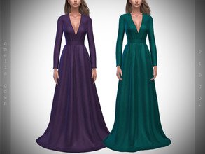 Sims 4 — Pipco - Amelia Gown. by Pipco — 12 Swatches Base Game Compatible New Mesh All Lods Specular and Normal Maps