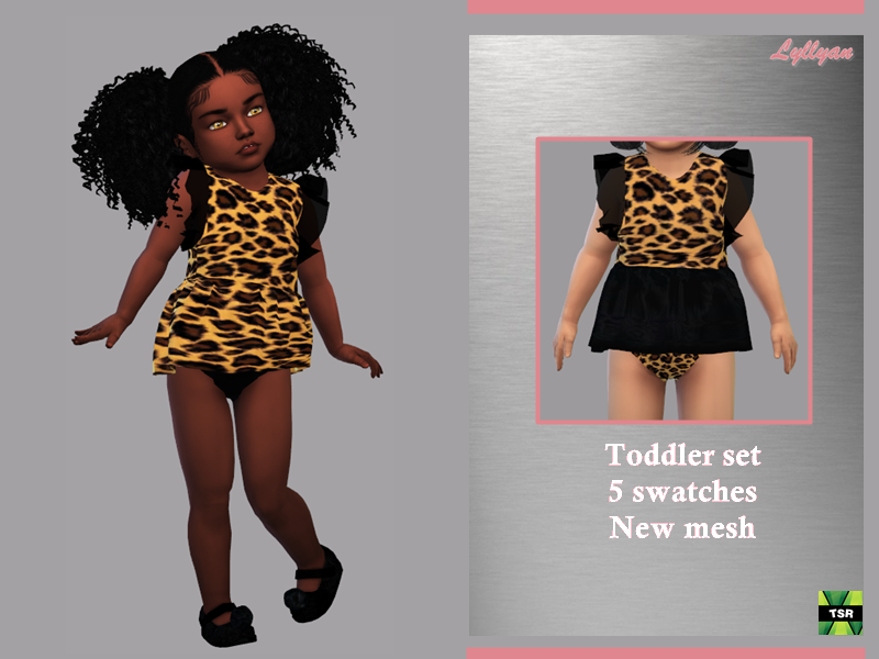 Sims 4 — Toddler Set Raquel by LYLLYAN — Toddler Set Print: leopard Detail of sleeve in transparency New Mesh - All Lods
