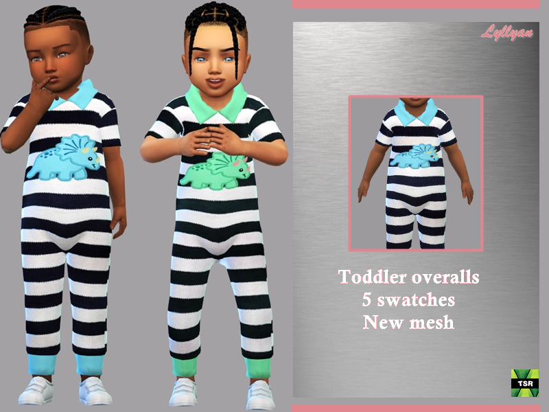 Sims 4 — Toddler overalls Arthur by LYLLYAN — Toddler overalls New Mesh 5 Swatches Custom thumbnail