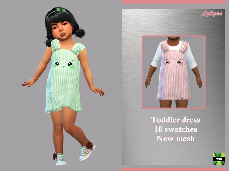 Sims 4 — Toddler dress Clarissa by LYLLYAN — Toddler dress New Mesh 10 Swatches In 2 models HQ compatible Custom