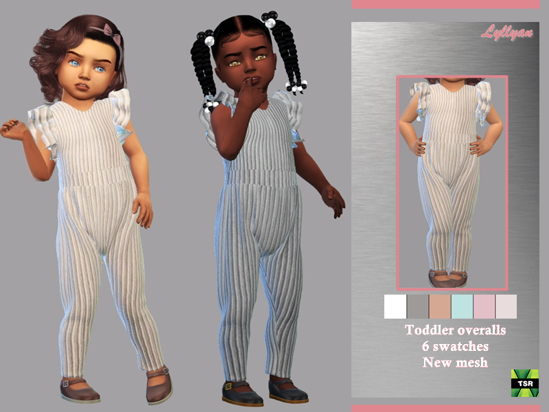 Sims 4 — Toddler overalls Dalila by LYLLYAN — - New Mesh - All Lods -6 Swatches - Custom thumbnail - Compatible with HQ