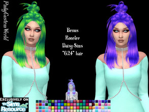 Sims 4 — Bonus recolor of Daisy-Sims G24 hair by PinkyCustomWorld — - Recolor in 96 different colors - Custom Thumbnail -