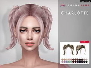 Sims 4 — Charlotte ( Hair 146 ) by TsminhSims — New meshes - 25 colors - HQ texture - Custom shadow map, normal map - All