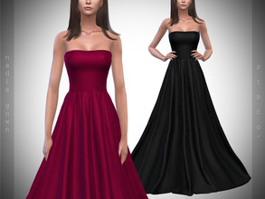 Sims 4 — Pipco - Nadia Gown. by Pipco — 15 Swatches Base Game Compatible New Mesh All Lods Specular and Normal Maps