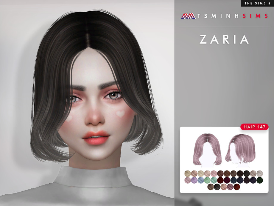 Sims 4 — Zaria ( Hair 147 ) by TsminhSims — New meshes - 30 colors - HQ texture - Custom shadow map, normal map - All