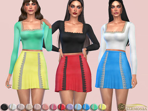 Sims 4 — Lace Trim A-line Skirt by Harmonia — 13 different color Please do not use my textures. Please do not re-upload.