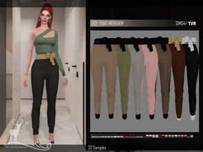 Sims 4 — DSF PANT MERIDIEM by DanSimsFantasy — Long pants, fitted at the waist with a bow. It has 32 samples. Cloning