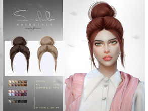 Sims 4 — sclub_ts4_LLhair_n79 by S-Club — The Bun hair for The Sims 4. 30 swatches, hope you like, thank you!