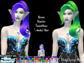 Sims 4 — Bonus recolor of TsminhSims Amelia hair by PinkyCustomWorld — - Recolor in 96 different colors - Custom