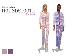 Sims 4 — Honorable HOUNDSTOOTH Pantsuit Set by EDN_SIMS — Honorable HOUNDSTOOTH Pantsuit - This is the COMPLETE SET of