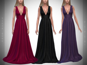 Sims 4 — Pipco - Viola Gown. by Pipco — 12 Swatches Base Game Compatible New Mesh All Lods Specular and Normal Maps